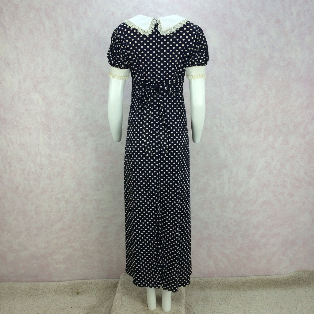 Vintage 70s Polka Dot Scoop Neck Maxi Dress, back