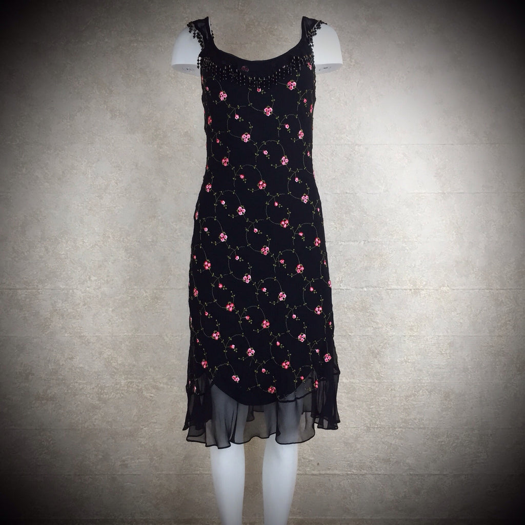 2000s BETSEY JOHNSON Embroidered Silk Dress, NWT