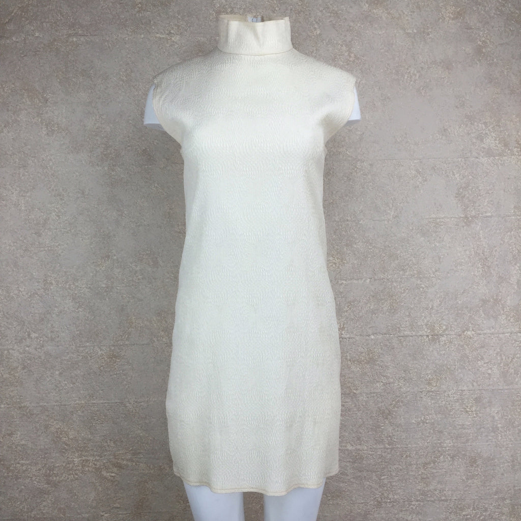 Vintage 90s PERRIS Silk Dress w/Mandarin Collar, Front