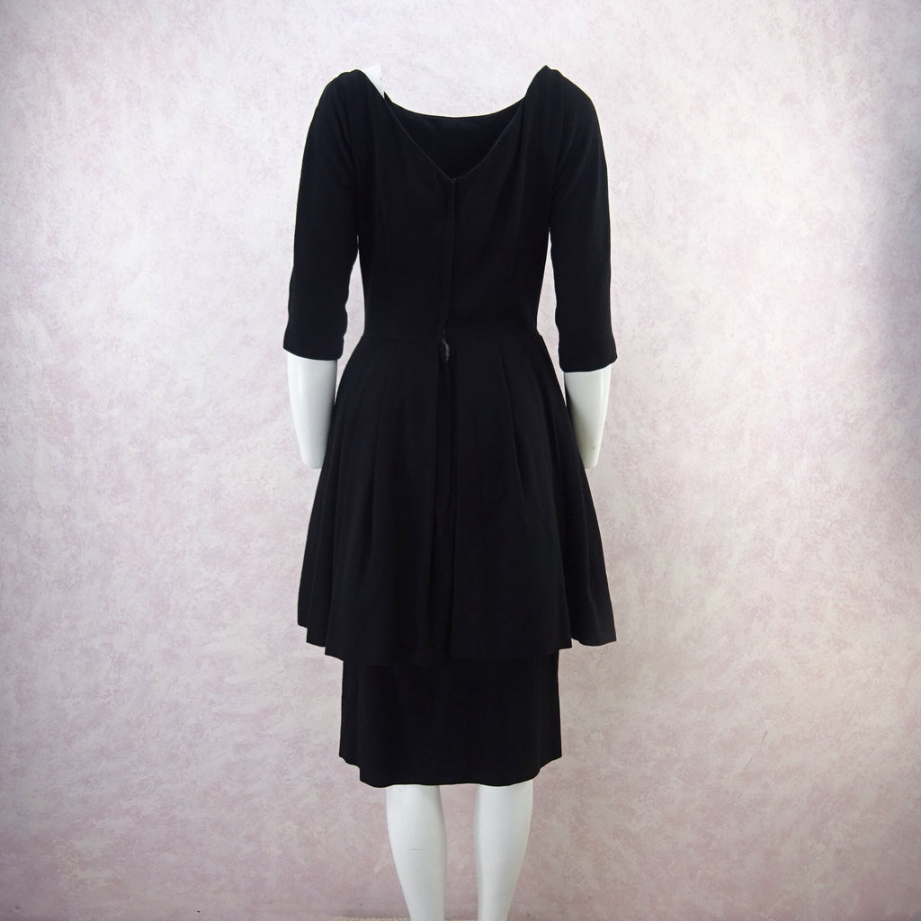 Vintage 50s GIGI YOUNG Black Tiered Cocktail Dress, B