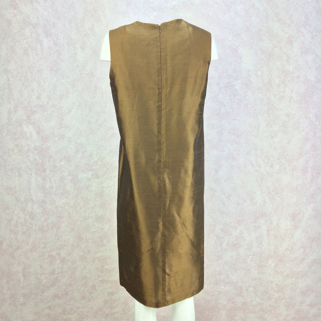 2000s Bronze Silk Sheath Dress, NWTer