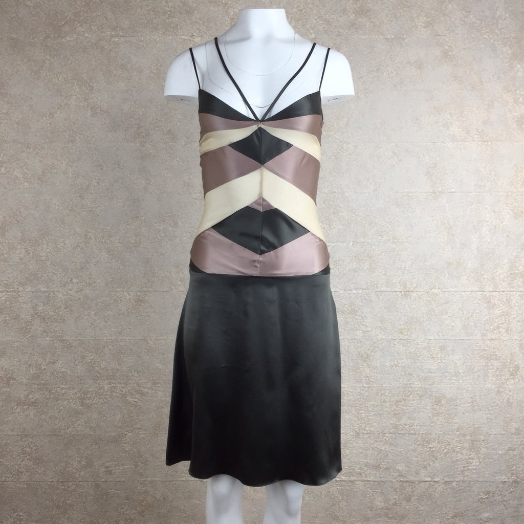 2000s TYLER Body Con Color Block Silk Dress, Front