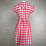 Vintage 60s Gingham Fit & Flair Dress, Back
