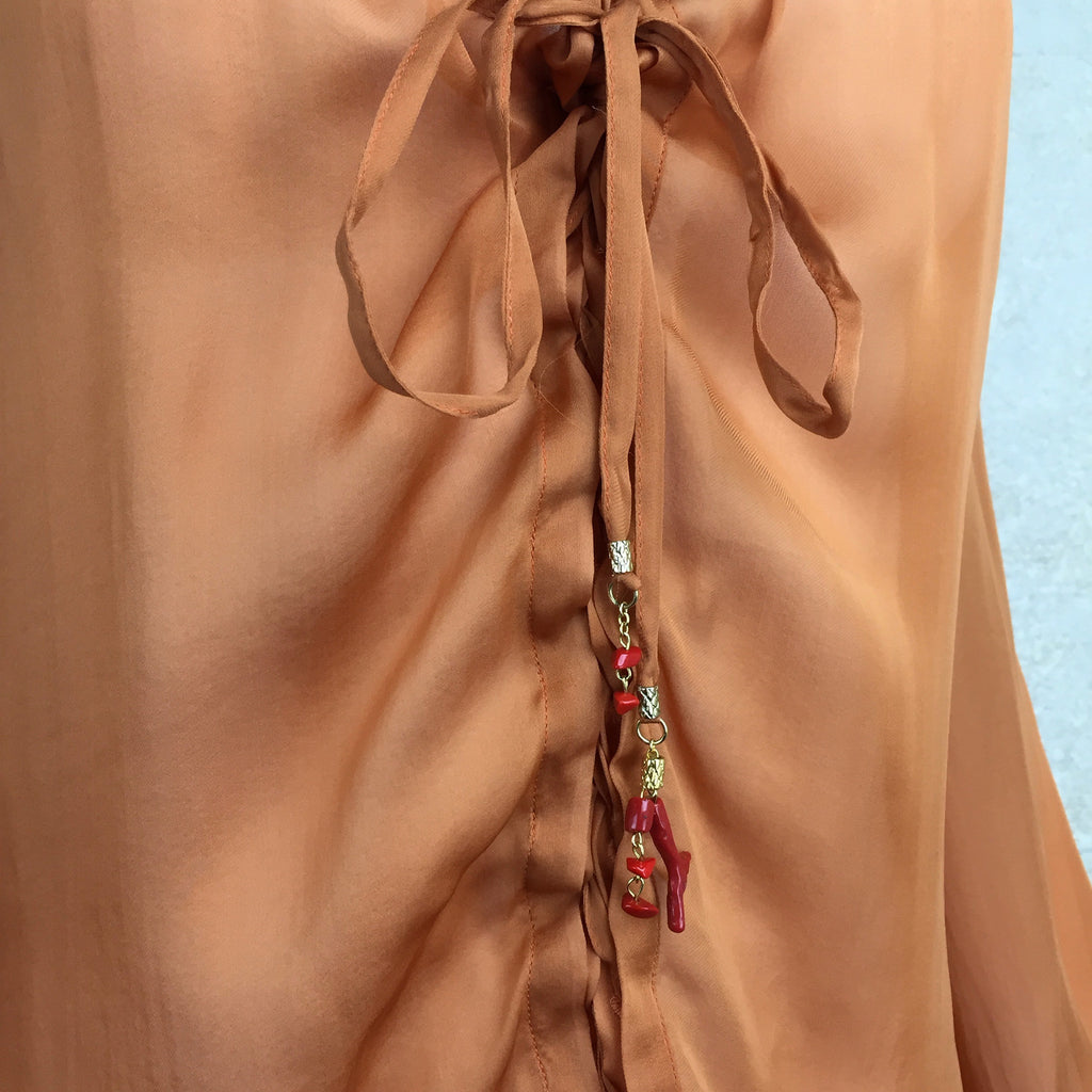 2000s ROBERTO CAVALLI Silk Lace-Up Blouse, Detail