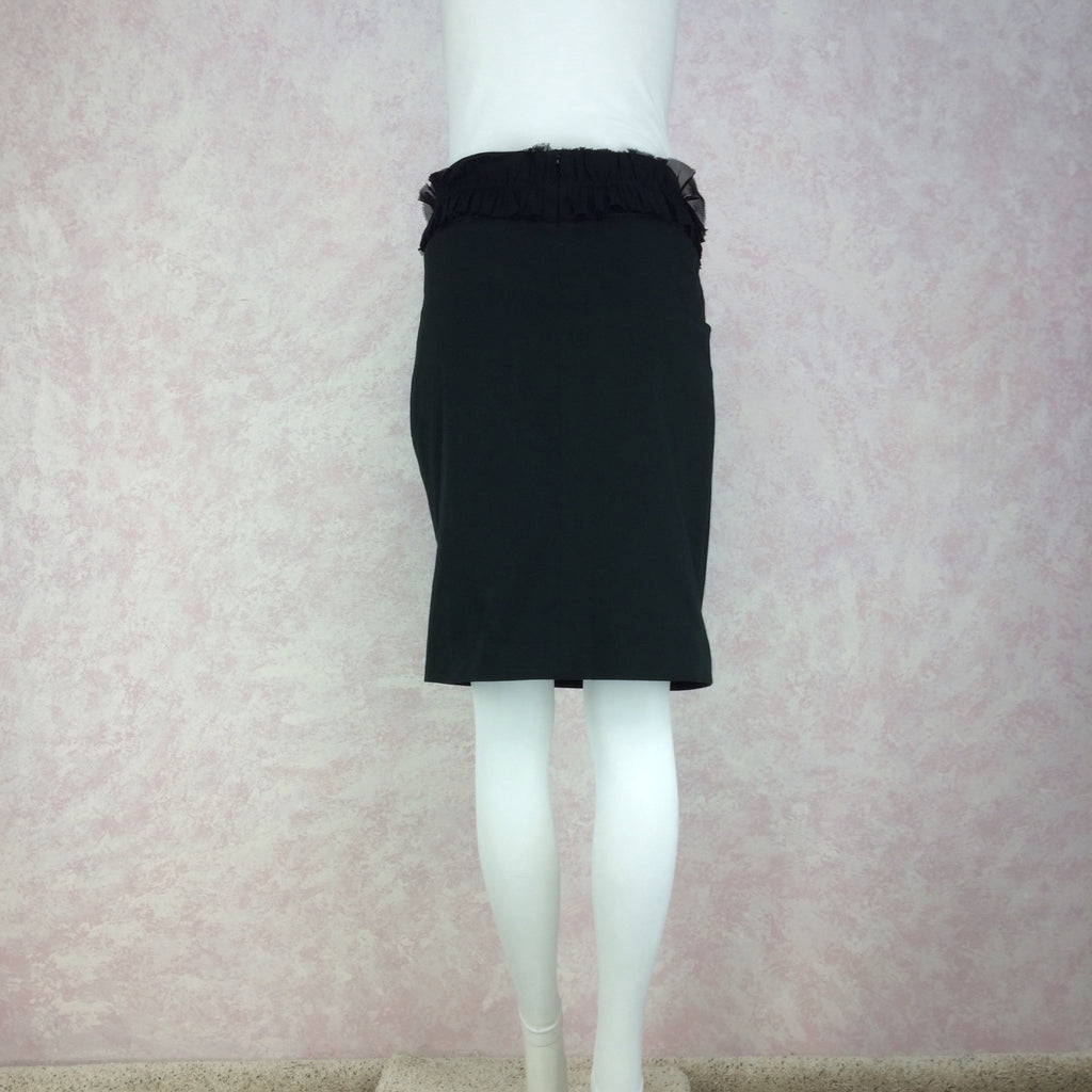 2000s CHLOE Silk Skirt w/Single Ruffle, Back