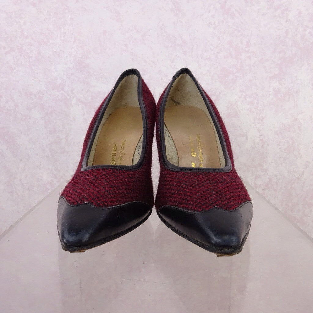 Vintage 50s Tweed & Leather Stilettos mn