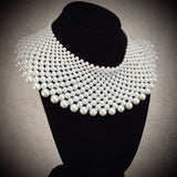 2000s 15 Row Wide Pearl Collar Necklace, NOS