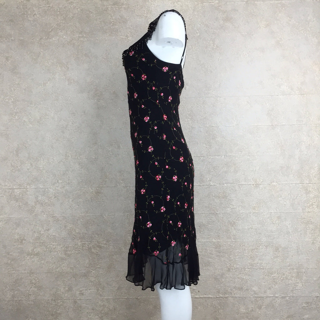 2000s BETSEY JOHNSON Embroidered Silk Dress, Side 2