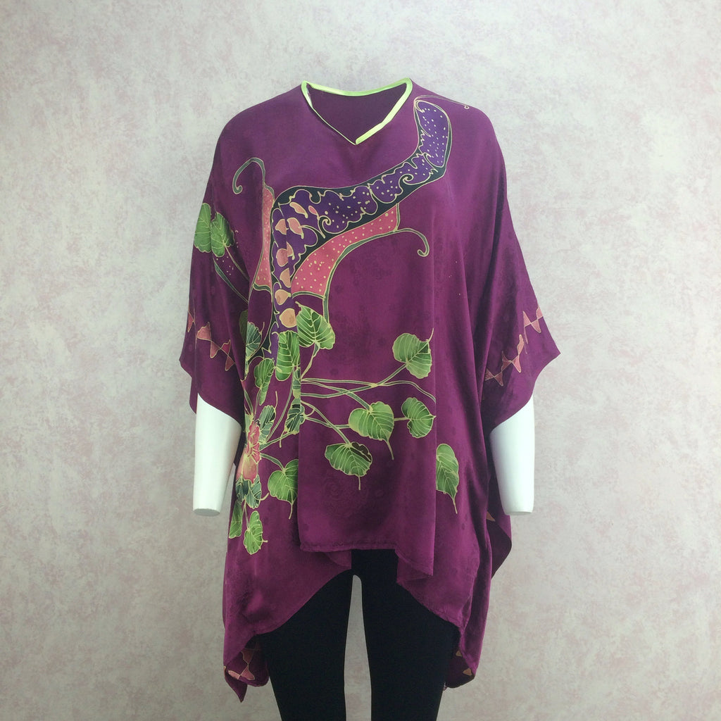Vintage 80s Silk Hand Painted Top, Front