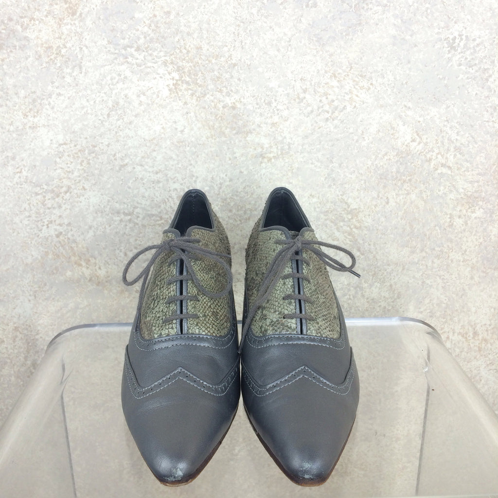 Vintage 90s Pewter Oxford Shoes, f