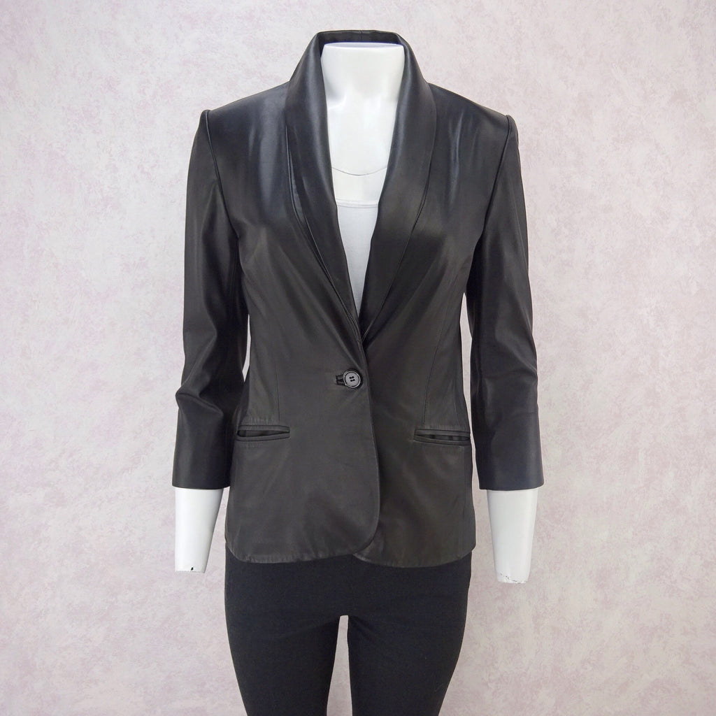 2000s JAY AHR Tailored Leather Blazer, NOS f
