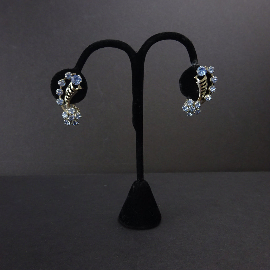 Vintage 50s Floral Rhinestone Climber Earrings