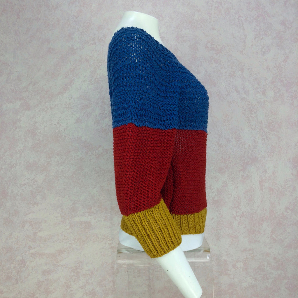Vintage 90s Handknit Color Blocked Sweater, Side 2