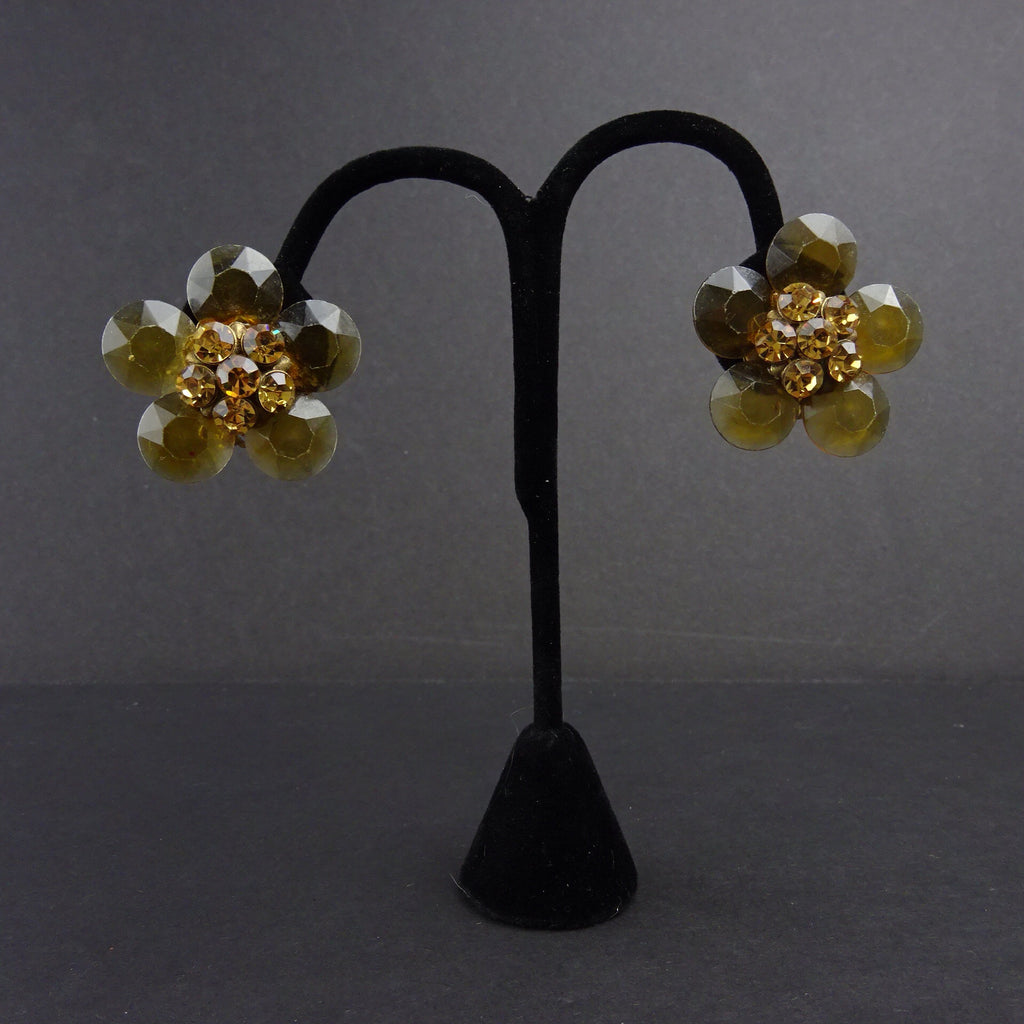 "Vintage 60s ""Smoky Topaz"" Floral Clip Earrings"