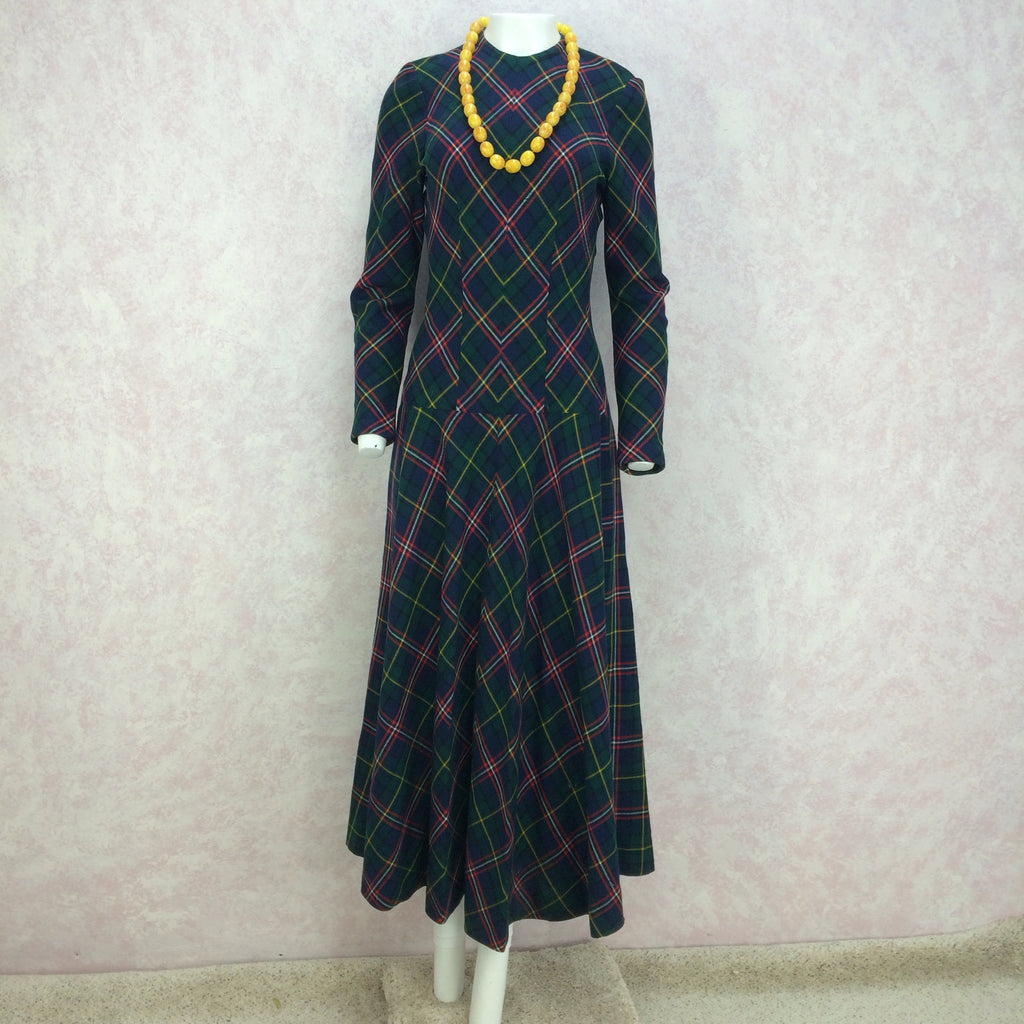 Vintage 40s Wool Plaid Dress w/Drop Waist, Full Length