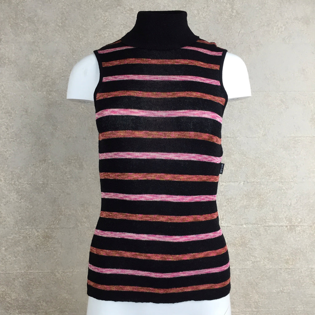 Vintage 90s Horizontal Stripe Lurex Knit Turtleneck, Front