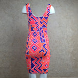 Vintage 90s Orange Memphis Print Stretch Dress, Back