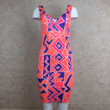 Vintage 90s Orange Memphis Print Stretch Dress, Front