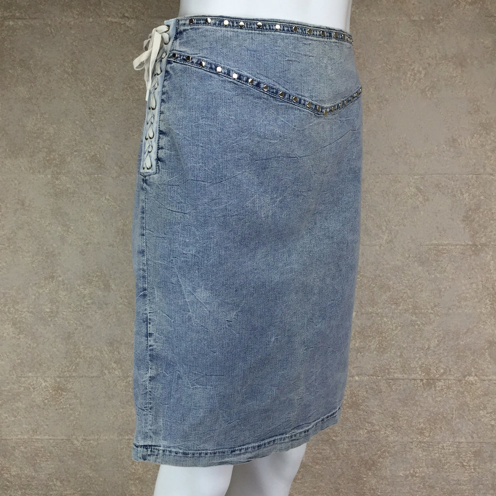 Vintage 90s DOLCE & GABANNALace-Up Denim Skirt, Side