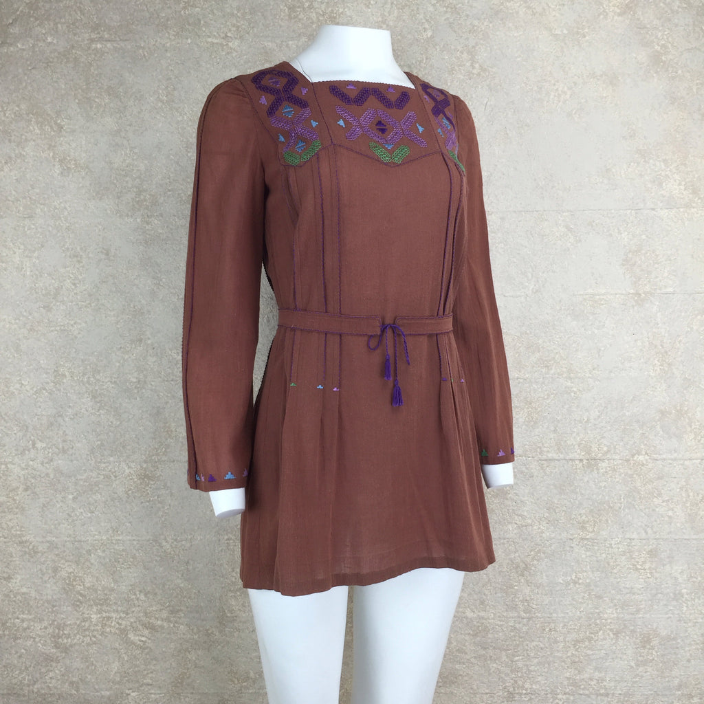 Vintage 70s Emmanuelle Khanh Embroidered Tunic, Side