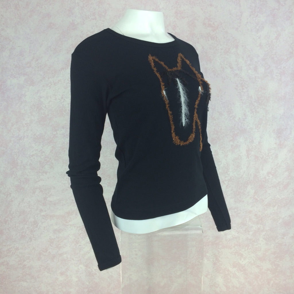 2000s SUSS Black Cotton Knit Top w/Embroidered Horse, Side