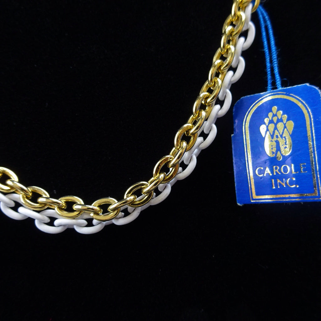 Vintage 70s Gold & White Link Chain Necklace, NWT vfe
