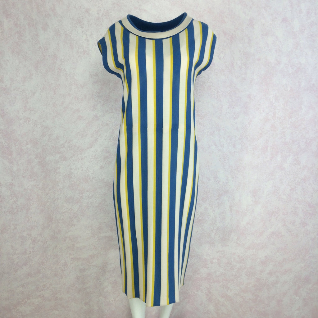 Vintage 60s Bold Striped Italian Wool Knit Dress, front