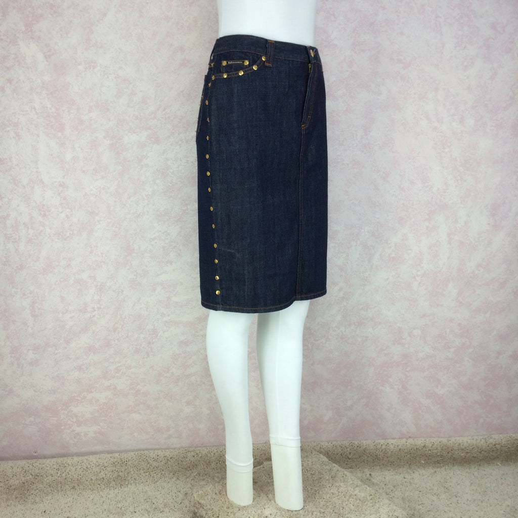 2000s D&G Denim Skirt w/Studs, Side