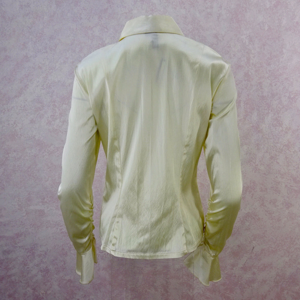 2000s Ivory Satin Shirt w/Extra-Long Cuffed Sleeves, NWT back