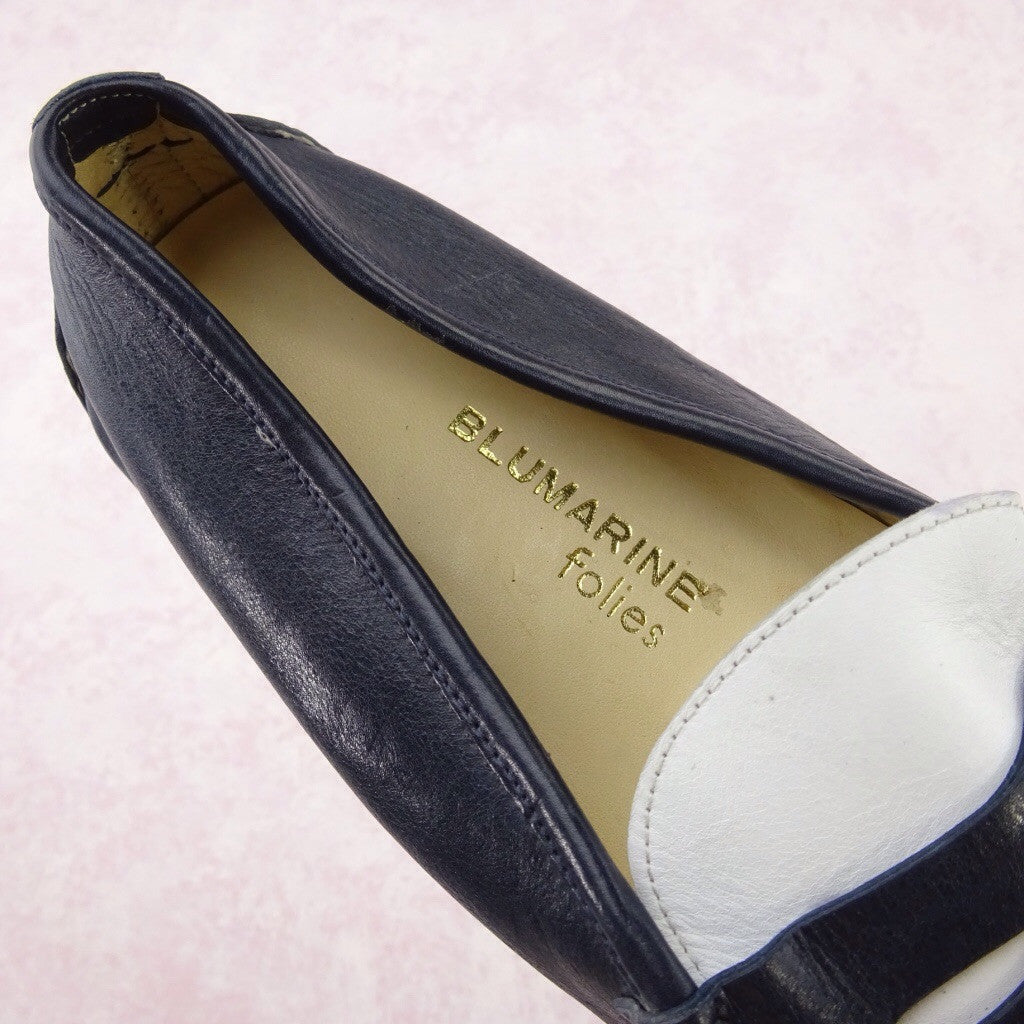 2000s BLUMARINE 2-Tone Leather Penny Loafer, NOS dd
