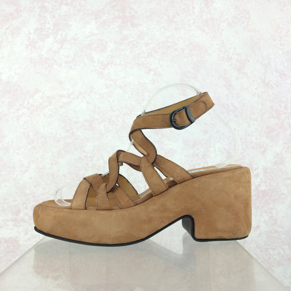 2000s BARNEY's Suede Ankle Strap Platforms, Side solo