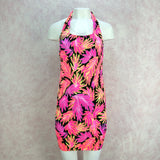 Vintage 90s Neon Body Con Stretch Tropical Dress, Front