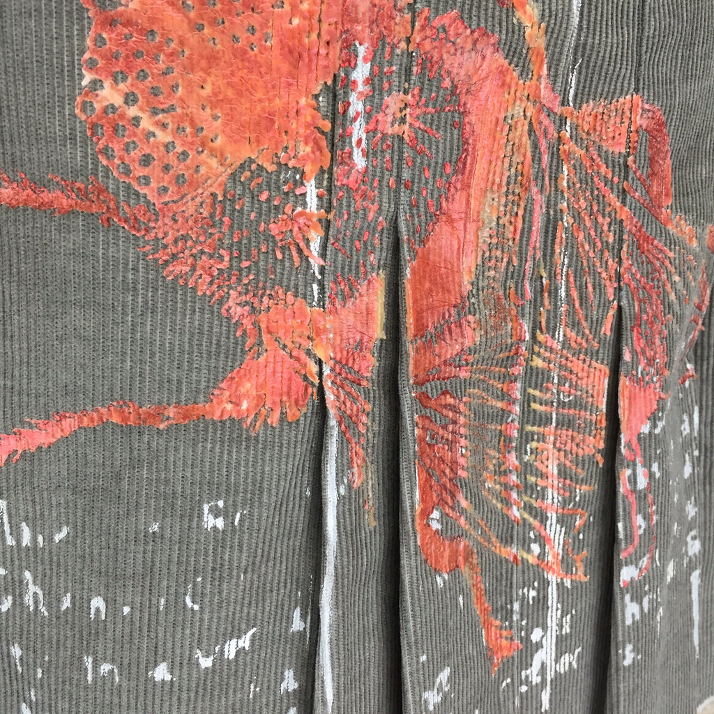 "2000s ""Just Cavalli"" Silkscreened Cordoroy Skirt, Detail"