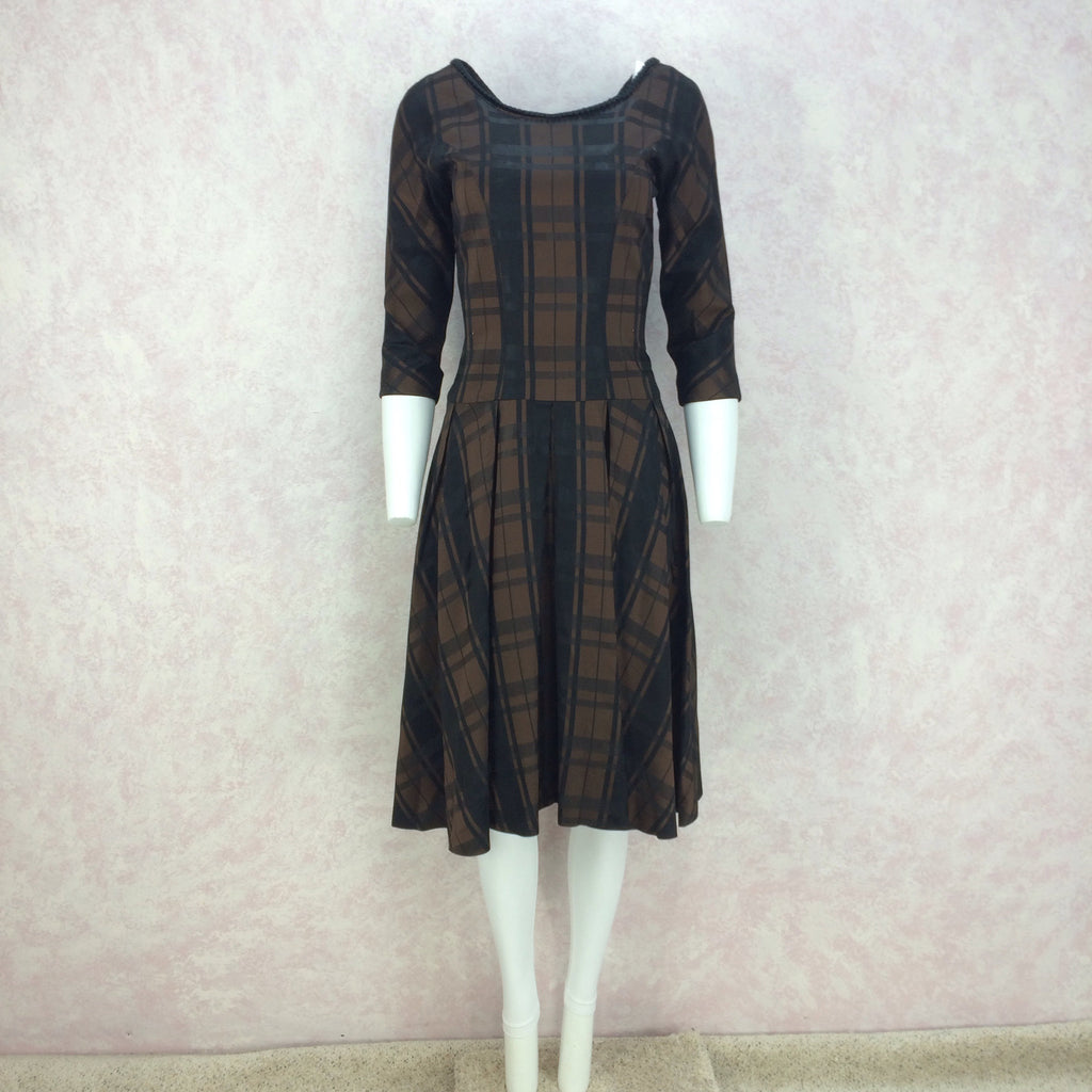 Vintage 50s Plaid Taffeta Drop Waist & Flair Dress front
