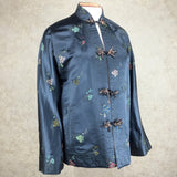 Vintage 60s Chinese Satin Floral Brocade Jacket, side
