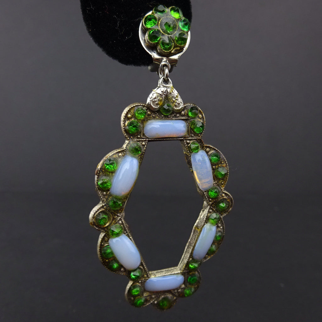 2000s Faux Opal & Emerald Pendant Drop Earringsd