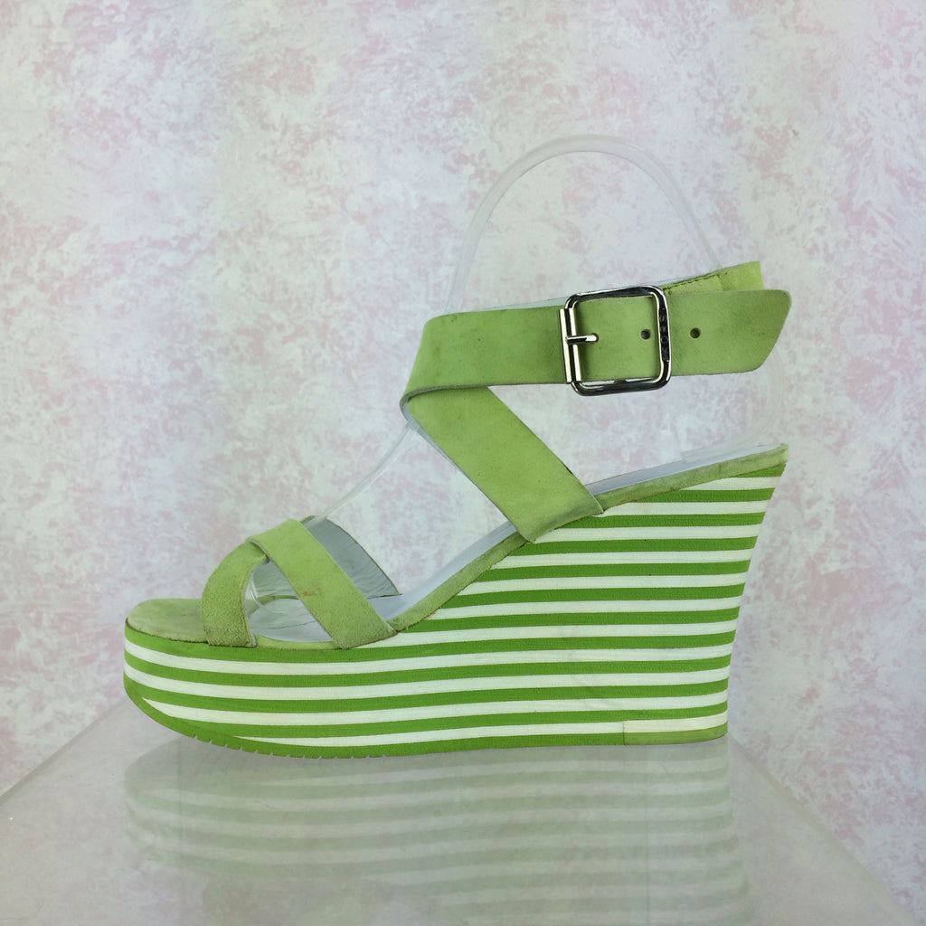 2000s MICHAEL KORS Lime Ankle Strap Wedgies, Side solo