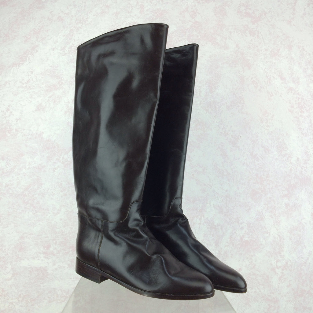 Vintage 90s Dark Chocolate Leather Boots, NOS  Side