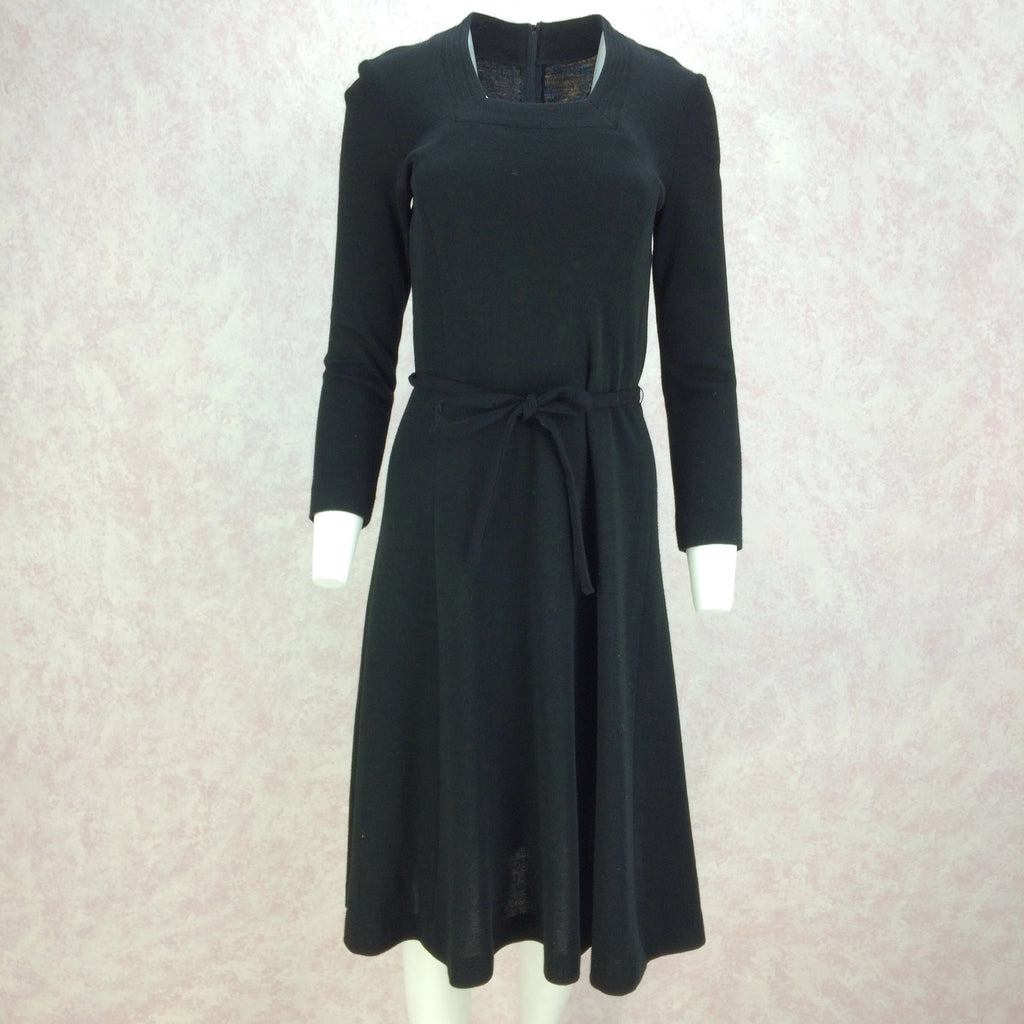 Vintage 70s Wool Jersey Belted Fit & Flair Dress