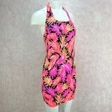 Vintage 90s Neon Body Con Stretch Tropical Dress, Side 2