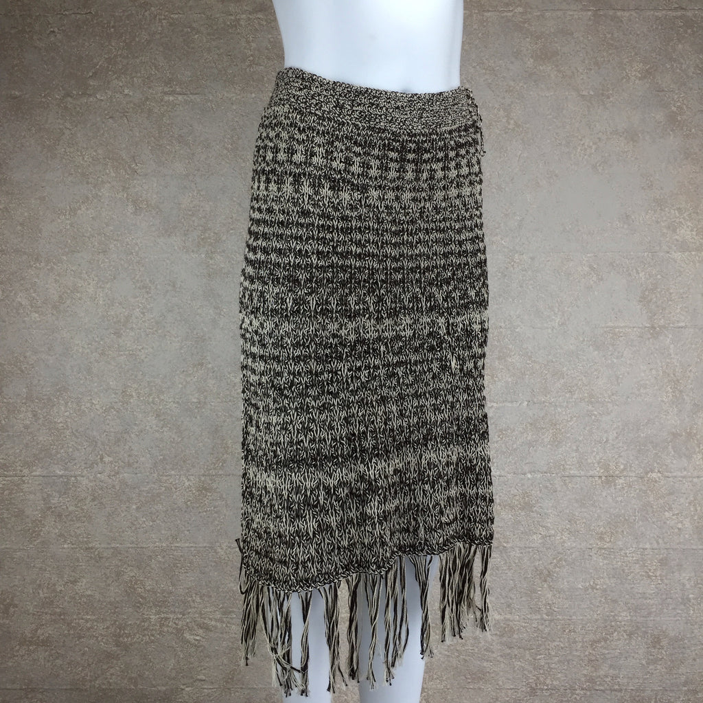 2000s Cotton Hand Knit Fringed Skirt, Side