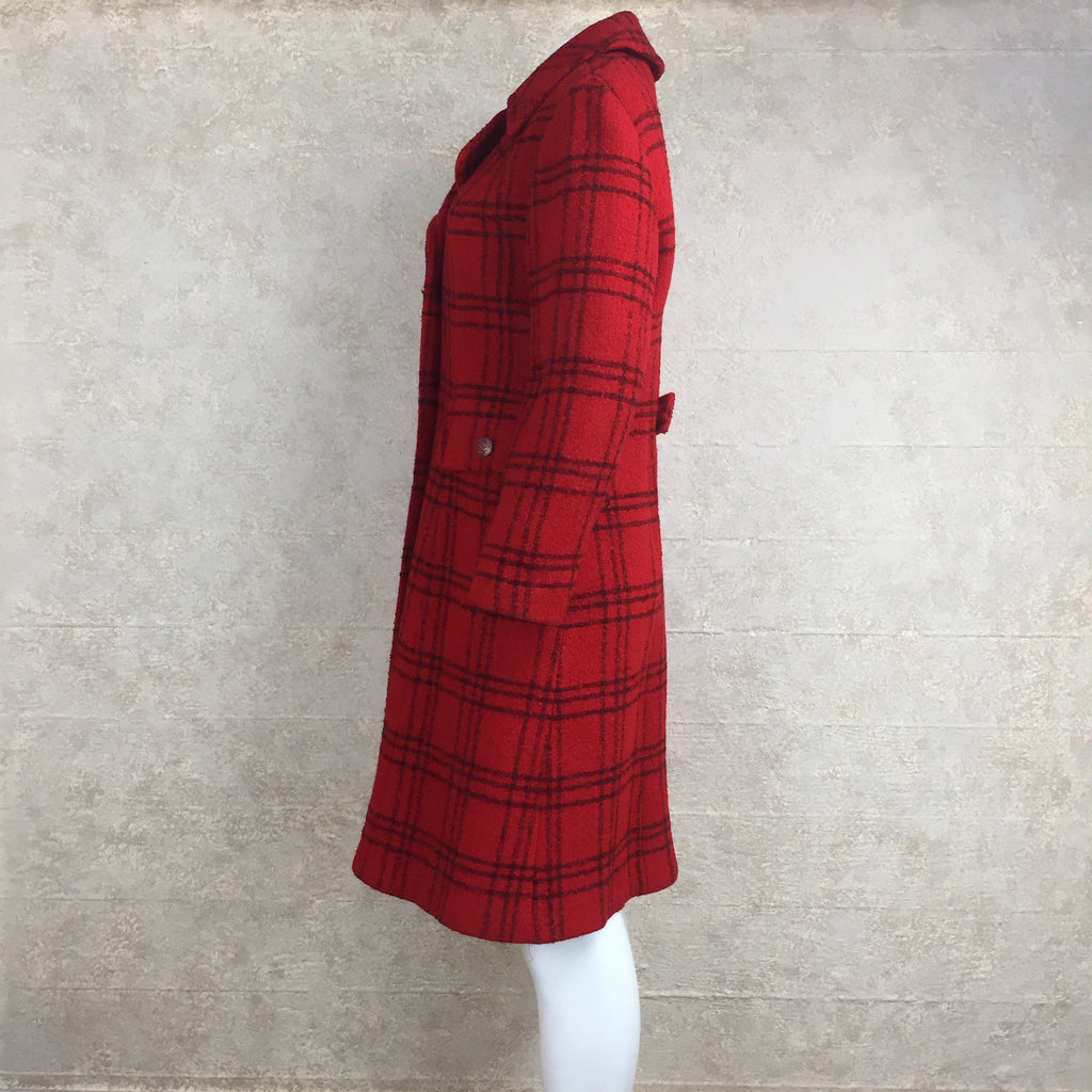 Vintage 70s Double-Breasted Check Wool Coat, side 2