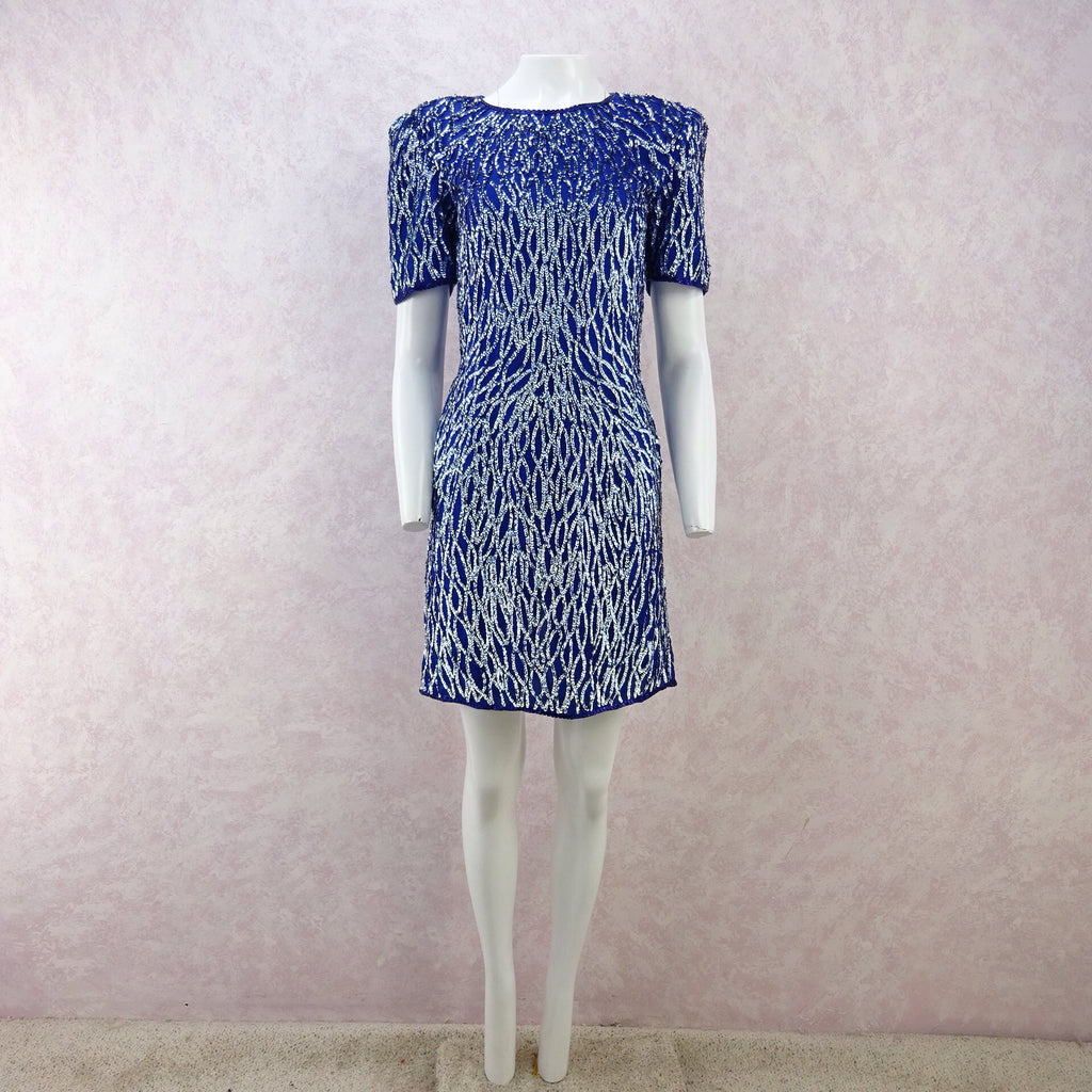 Vintage 80s Water Ethereal Sequined Dress