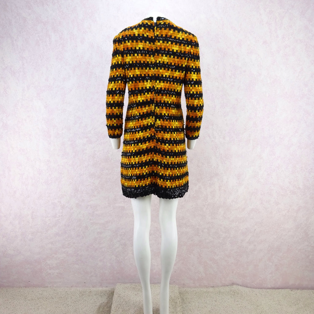 Vintage 60s Wool & Sequin Striped Dress efgsx