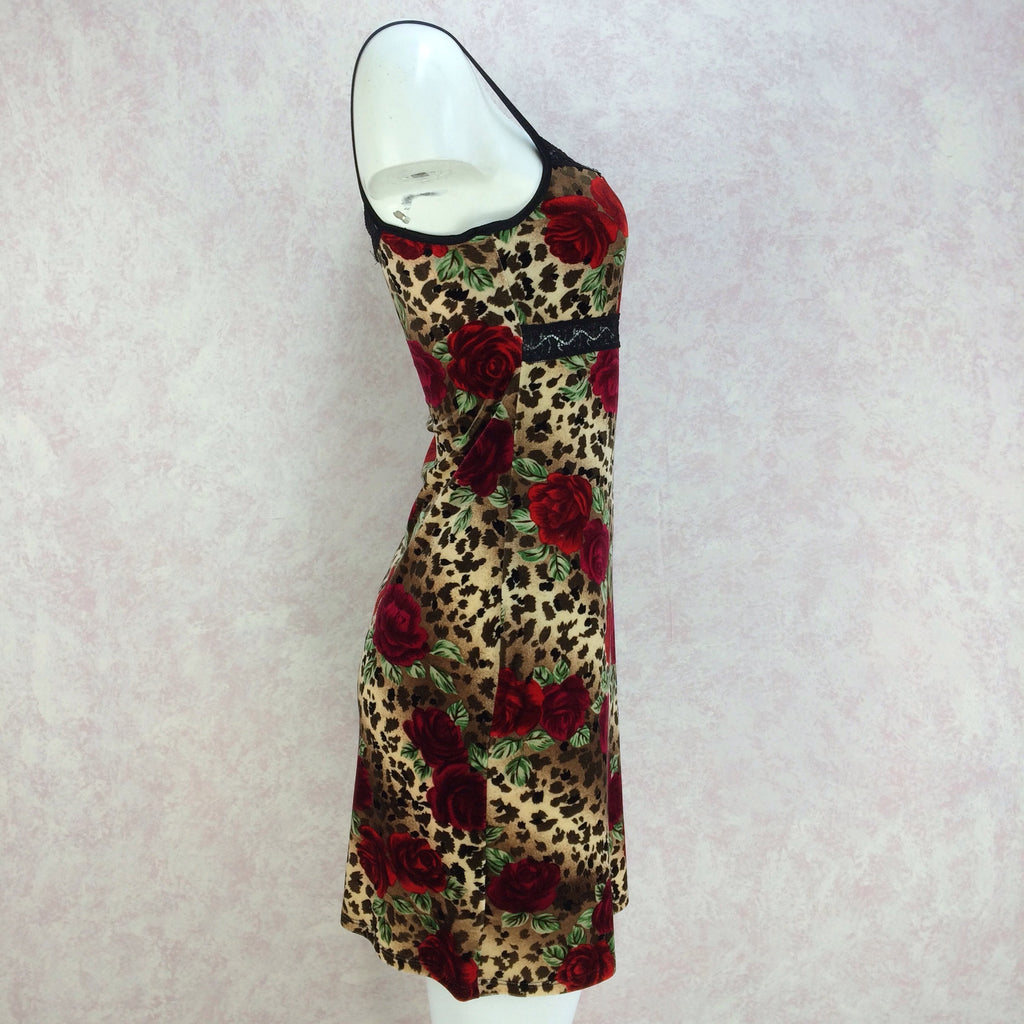 2000s Animal & Rose Print Stretch Slip Dress, NWTf