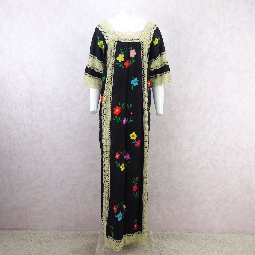Vintage 80s Hand Embroidered Dress w/ Lace Panels