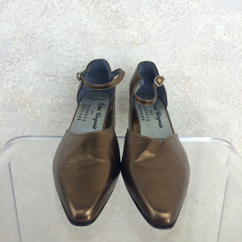 Vintage 90s CLERGERIE Copper Ankle Strap Shoes, Front