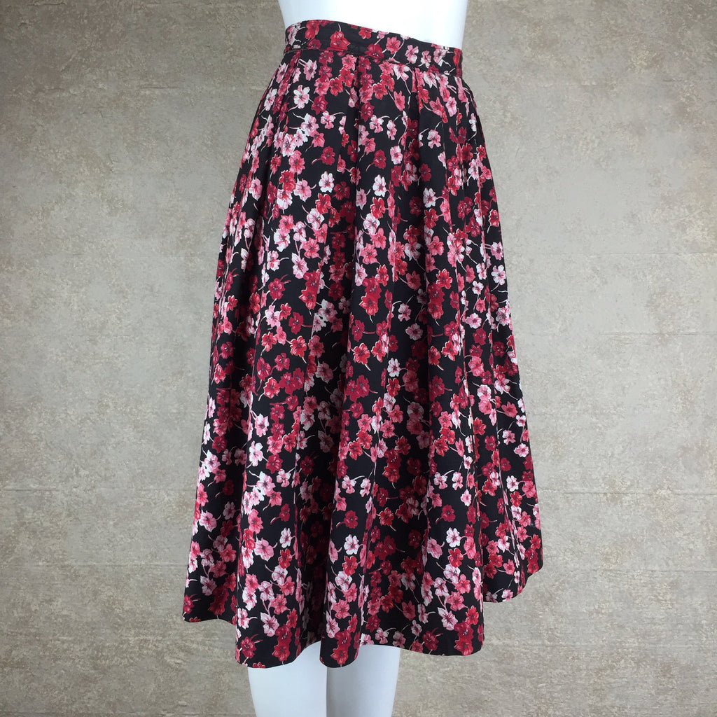 Vintage 60s Cotton Floral Full Dirndl Skirt, side 2