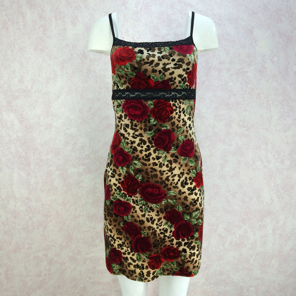 2000s Animal & Rose Print Stretch Slip Dress, NWT