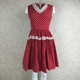 Vintage 60s Cotton Polka Dot Fit & Flair Dress front